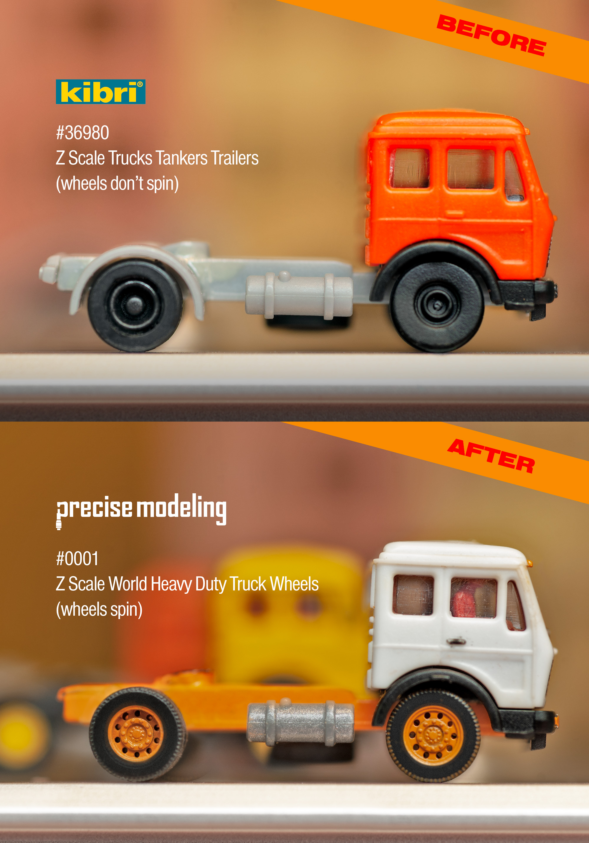 3D printed Z scale wheels; comparison between Kibri, and the higher quality of Precise Modeling's product.