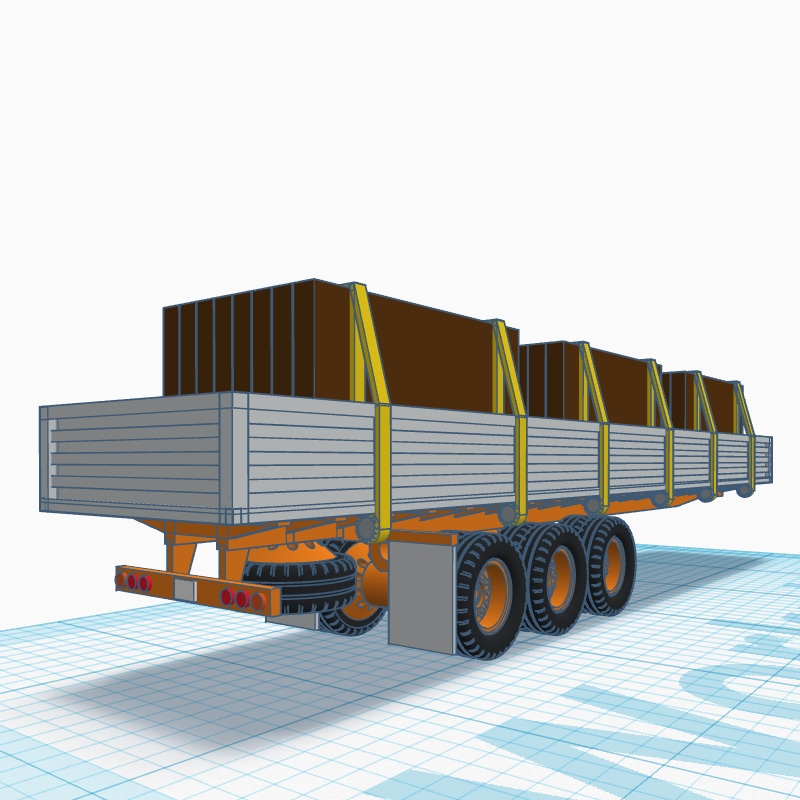 Z scale Flatbed Cargo truck trailer